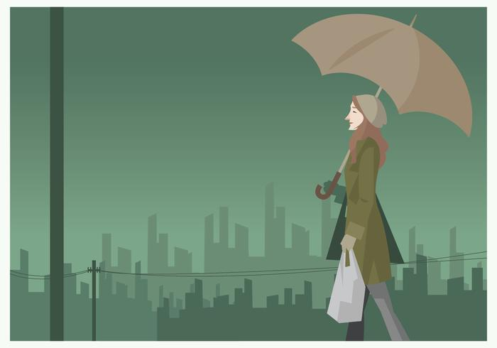 Girl Walking in the Rain With Umbrella Vector