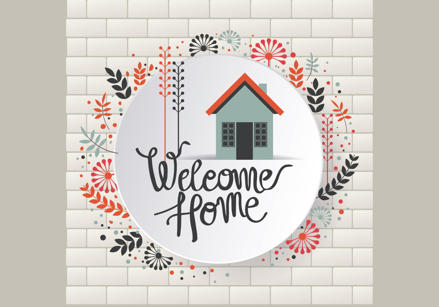 Floral Welcome Home Sign Vector Download Free Vector Art