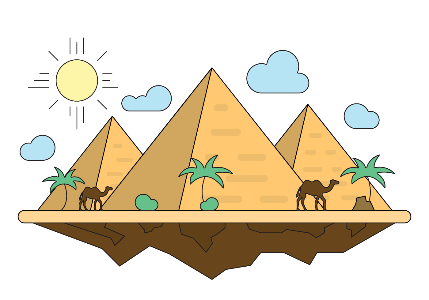 Vector Cartoon For Free Download About 5 514 Vector: Illustration With Pyramids