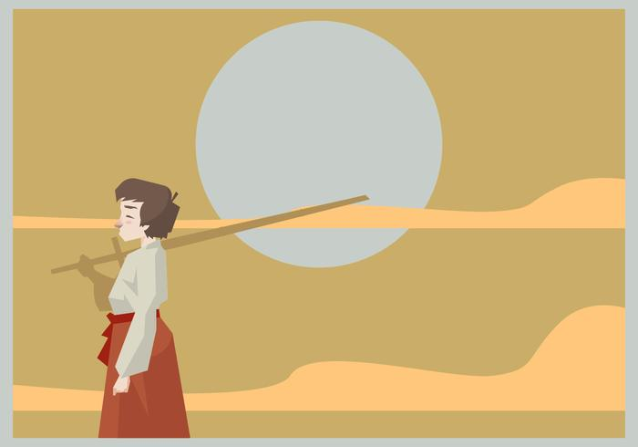 A Kid Standing With a Kendo Sword Vector
