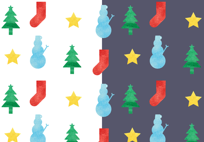 Free Watercolor Christmas Pattern Vector