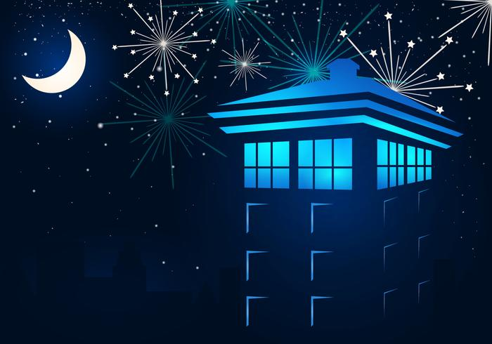 Tardis In The Night With Fireflies