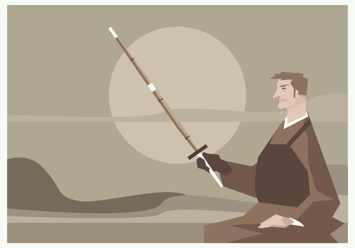 A Man Sitting with a Kendo Sword in Hand Vector