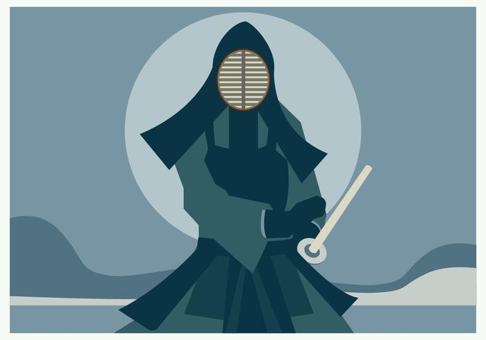 A Man with Kendo Suit Holding His Kendo Sword Vector