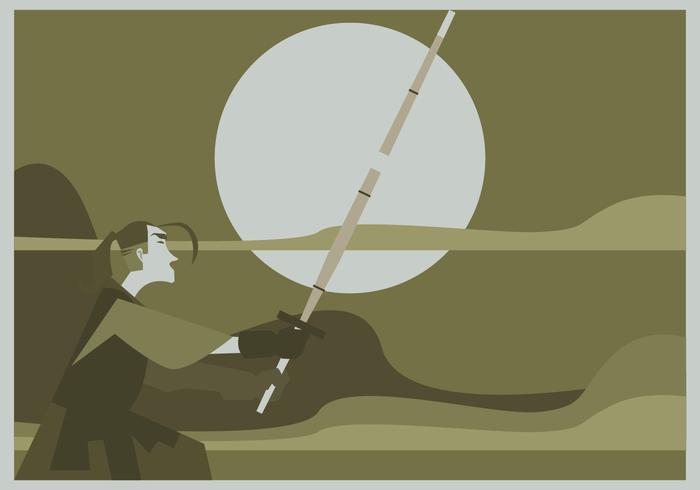 A Man Practices Kendo Vector