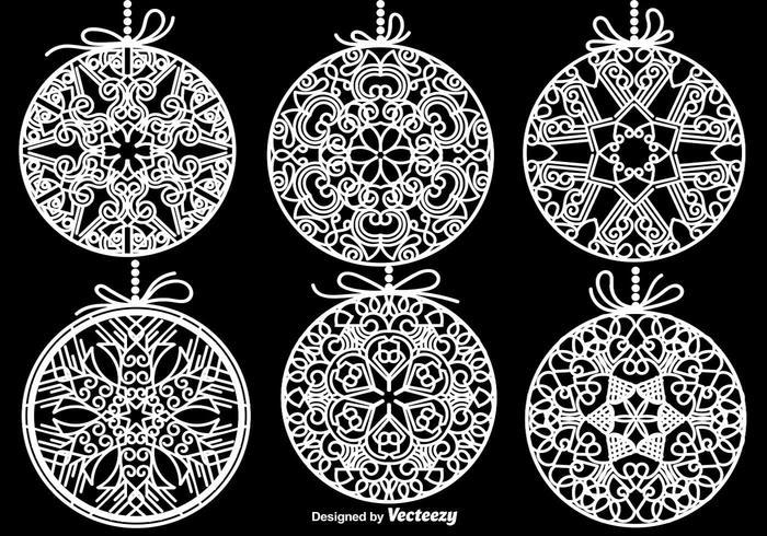White Christmas Spheres Vector Elements