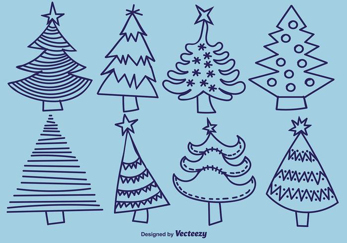 Handgetekende Pine Vector Icons