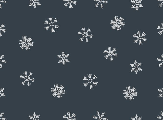 Hand-drawn Snowflakes Vector Seamless Pattern