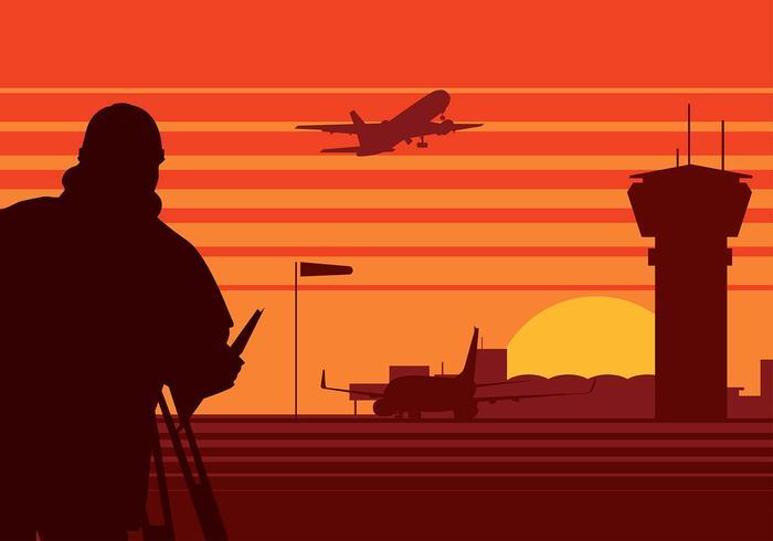 Landmeter Luchthaven Silhouet Gratis Vector