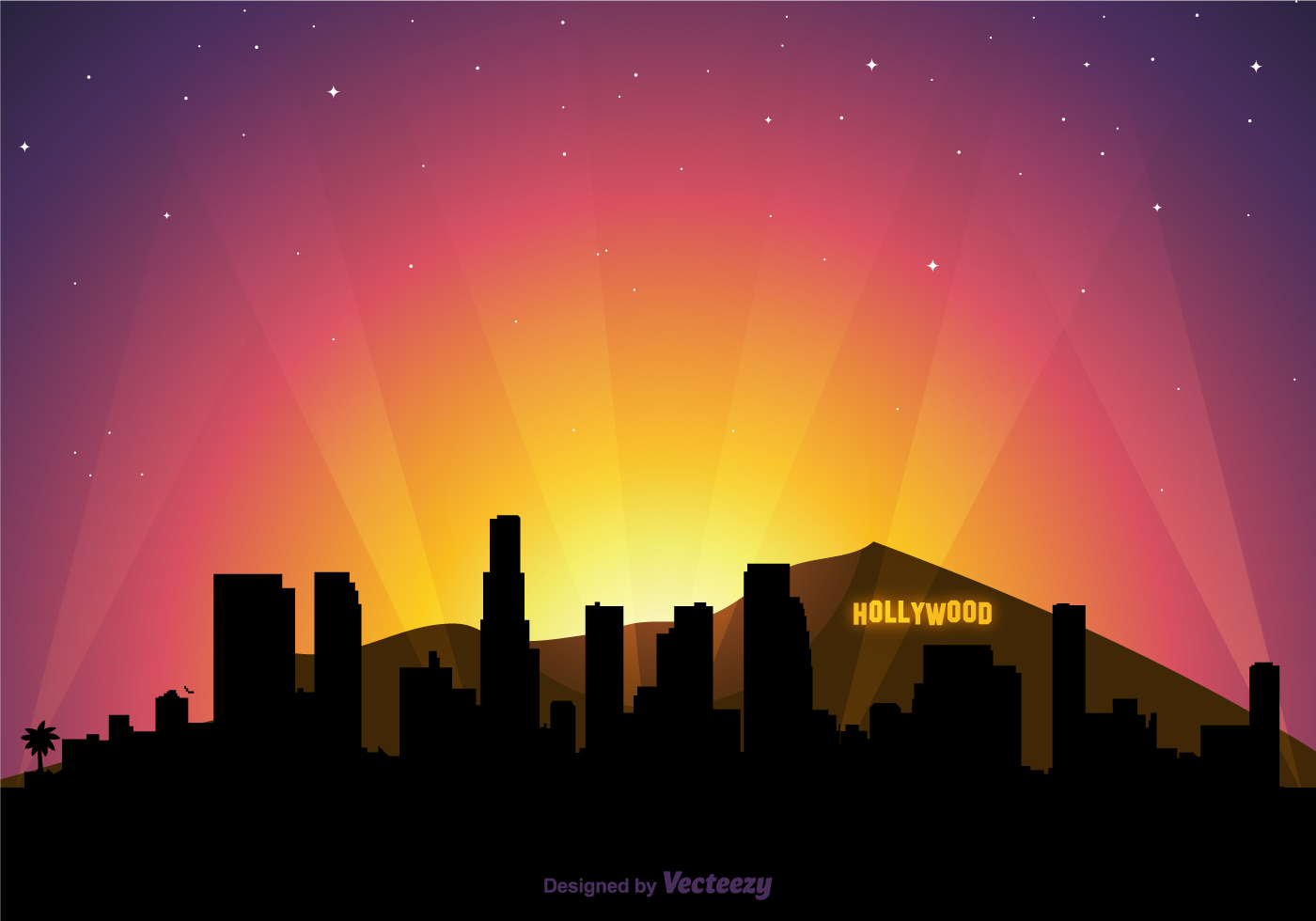 Free Vector Hollywood Skyline At Sunset - Download Free Vector Art, Stock Graphics ...  Free Vector Hol...