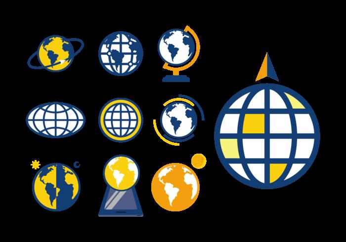 vettore di icone di globus