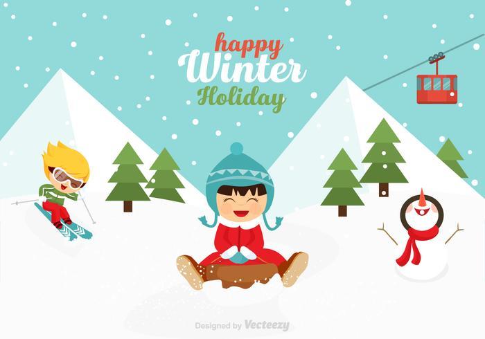 Gratis vektor lekfulla barn i vinter scen
