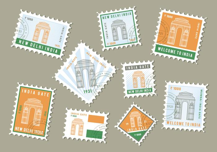 Free India Gate Stamp Vector