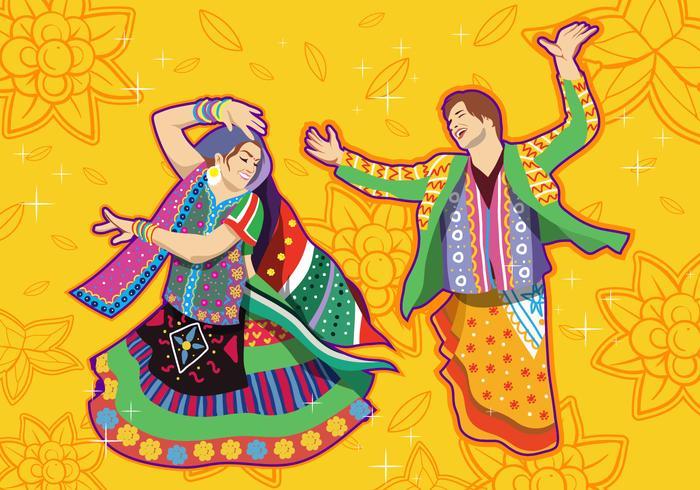 Couple Performing Garba Dance