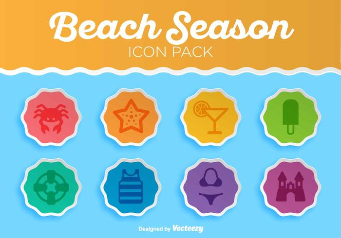 Summer Beach Vector Icon Set