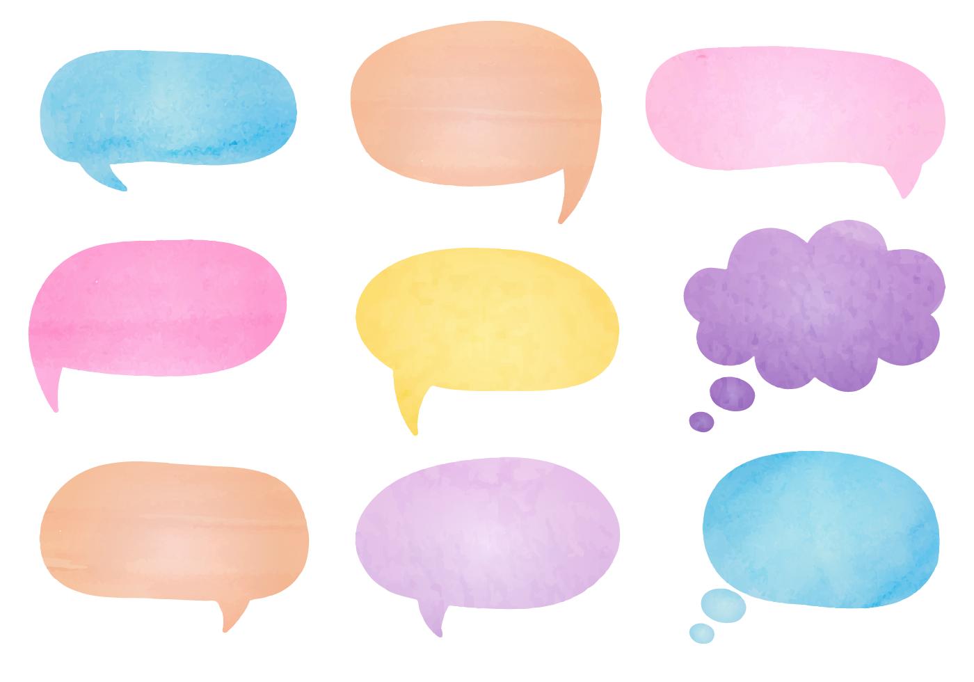 Watercolor Speech Bubbles Free Vector Art - (32 Free Downloads)