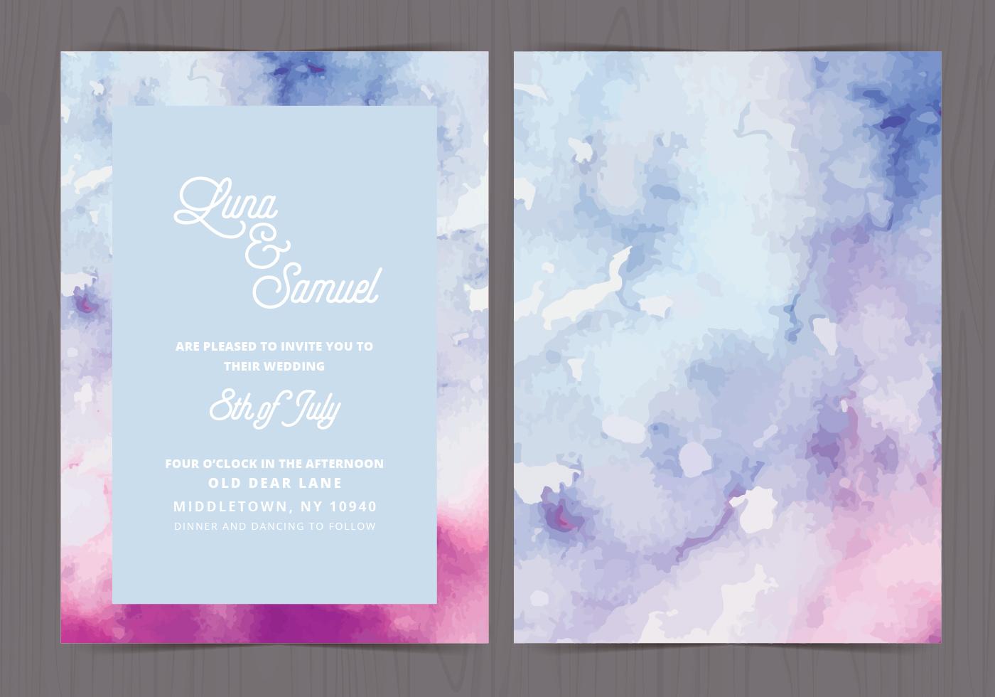 vector watercolor wedding invite