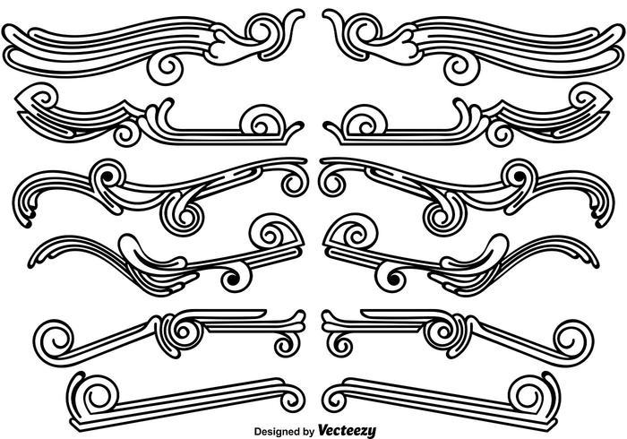 Ensemble de diviseurs décoratifs originaux vecteur