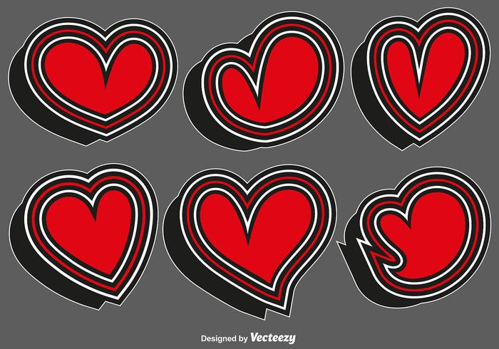 Collection Of Heart Stickers - Vector