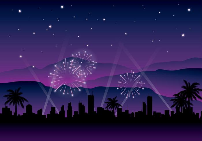 Hollywood Light Night Background Free Vector