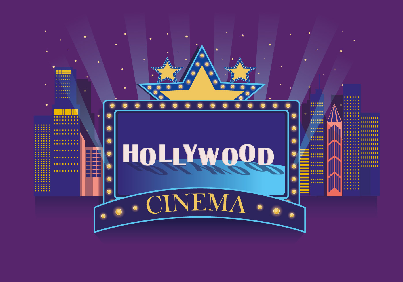 Hollywood Light Cinema Vector - Download Free Vector Art ...