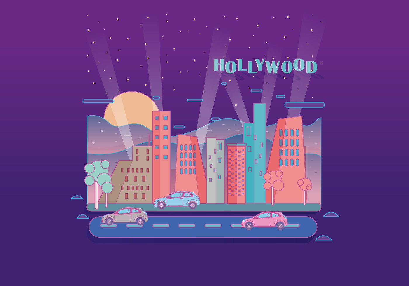 Hollywood luz paisaje vectorial - Descargue Gráficos y Vectores Gratis