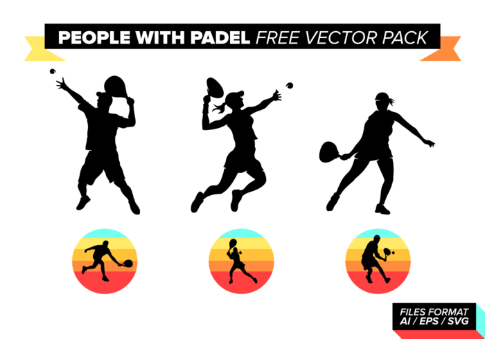 People with Padel Free Vector Pack