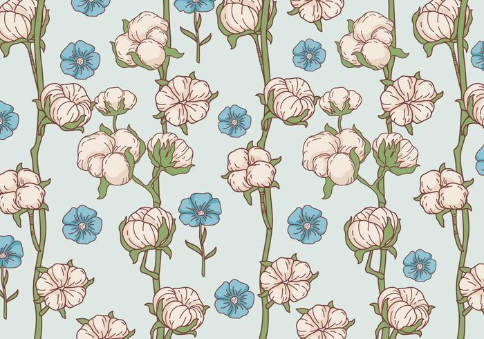 Cotton Flower Pattern Vector