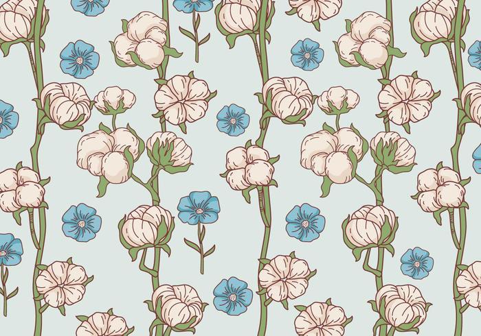 Vector de patrón de flores de algodón