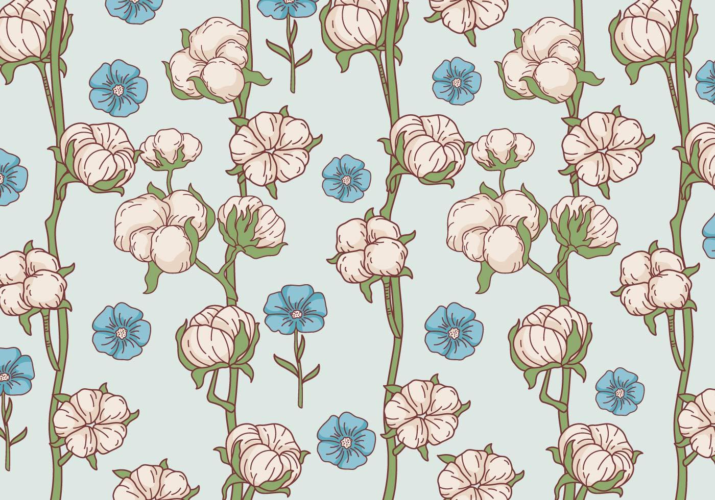 Cotton Flower Pattern Vector Download Free Vector Art Stock Graphics &