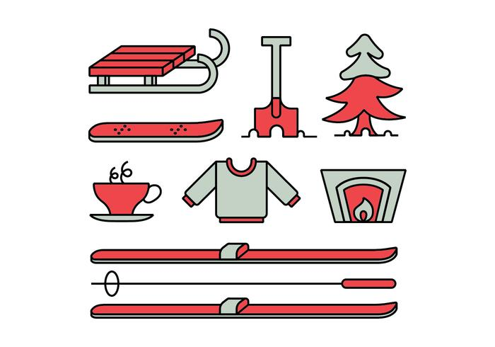 Winter activities icon set vector