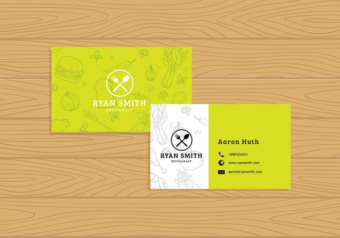 Name Card Restaurant Template Free Vector