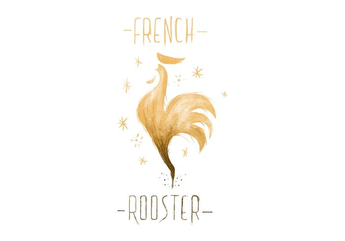 Free French Rooster Watercolor Vector