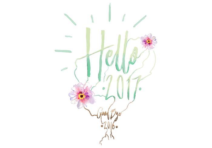 Free Hello 2017 Watercolor Vector