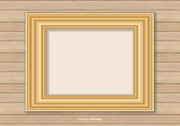 Gold Frame On Wood Wall Background