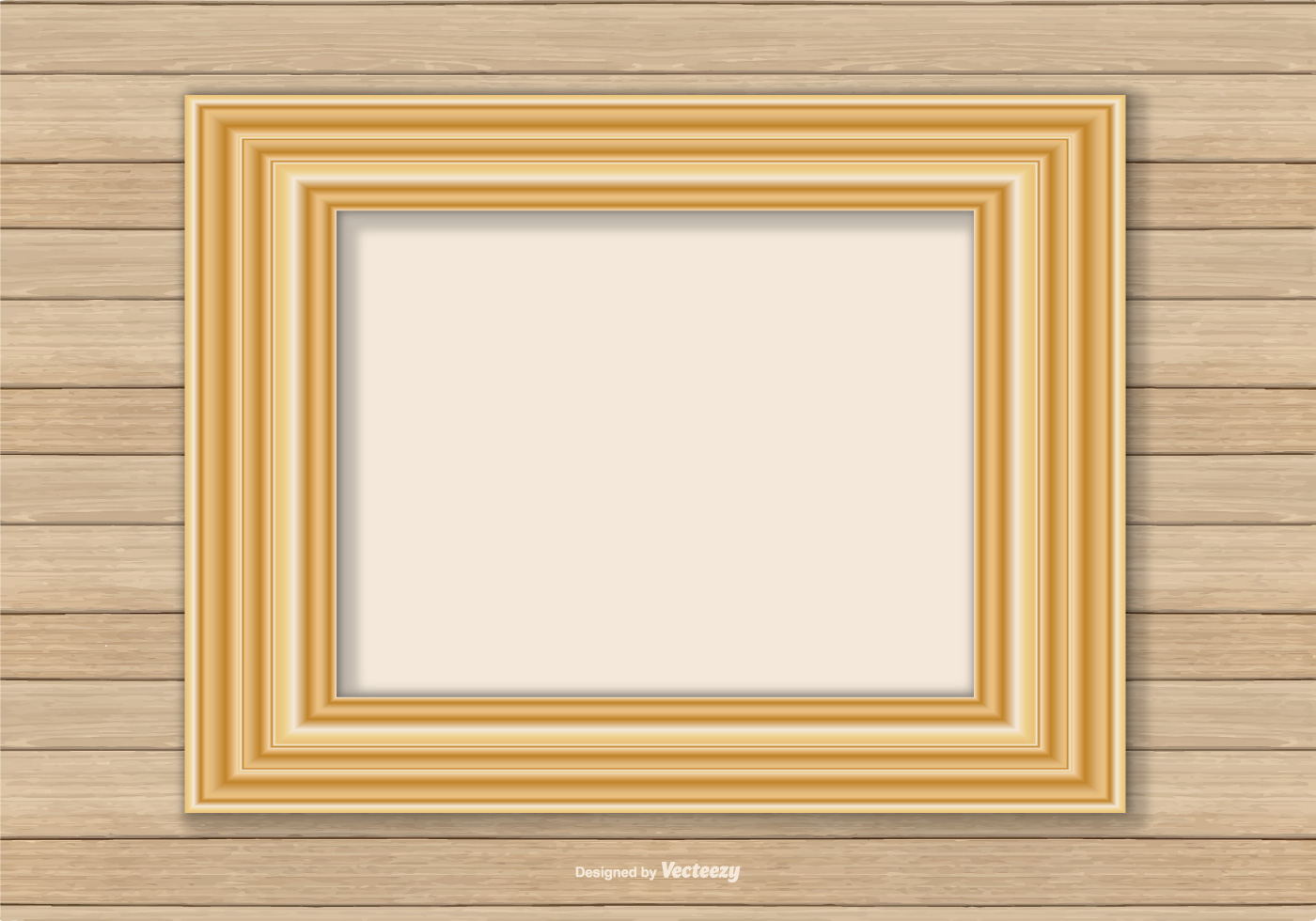 Gold Frame On Wood Wall Background - Download Free Vector Art, Stock ...
