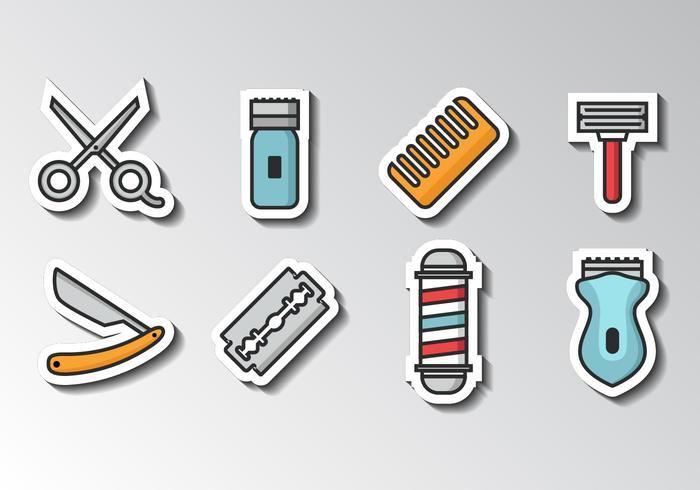 Free Barber Icons Sticker Style Vector