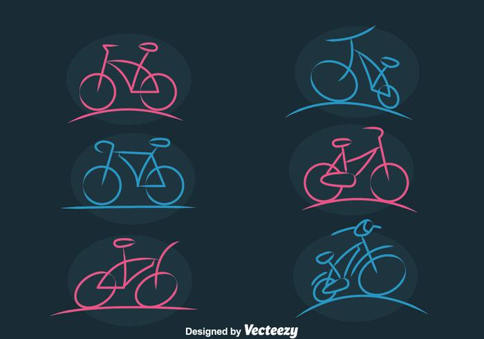 Bicycle Sketch Icons Vector