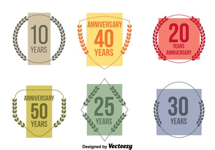 Colorful Anniversary Vector Set