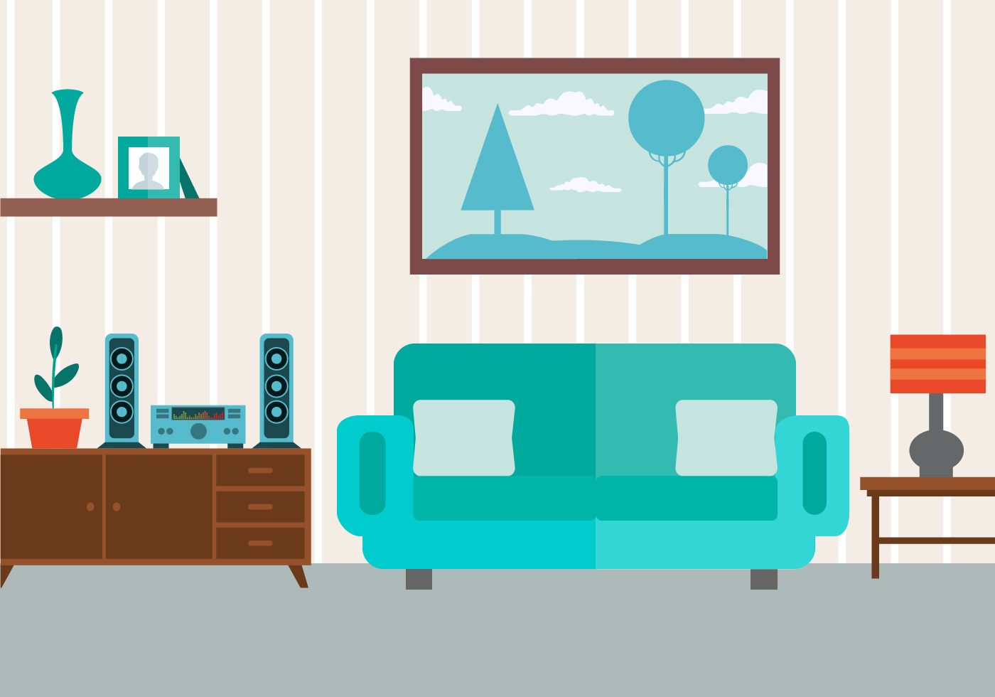 Free vector livingroom download free vector art stock for Sala de estar animada