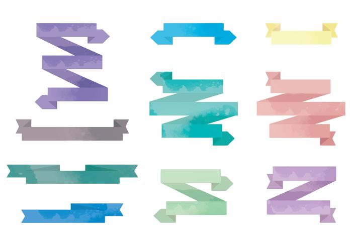 Vector Watercolor Ribbons