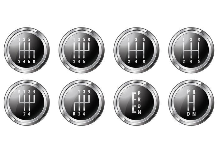 Set Of Gear Shift Symbols