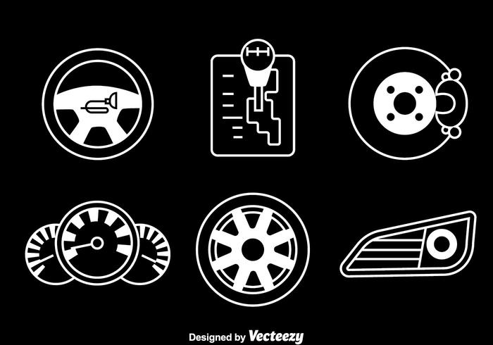 Car Element White Icons Vector