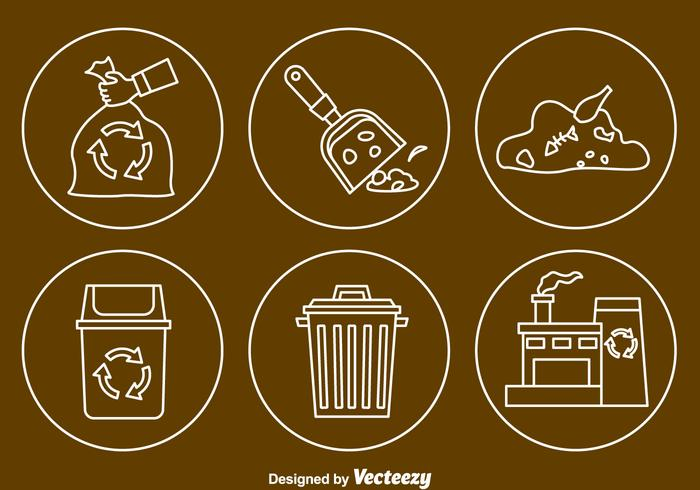 Garbage Line Icons Vector