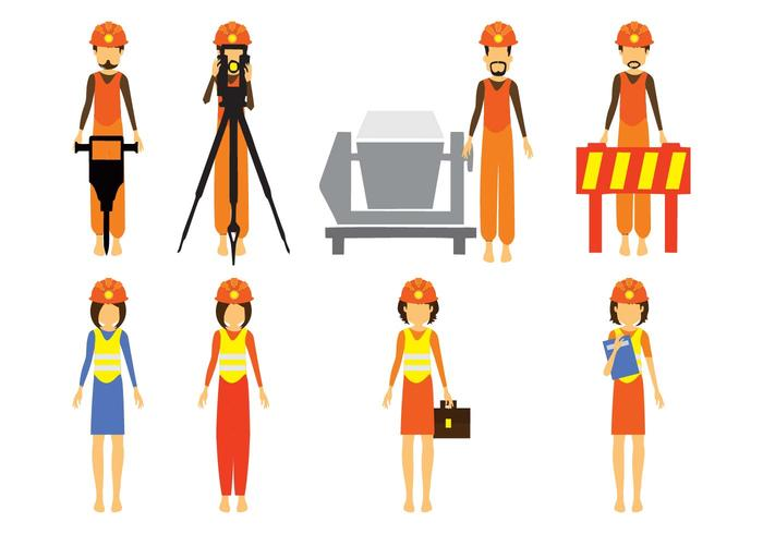 Free Construction and Civil Engineering Character Vector