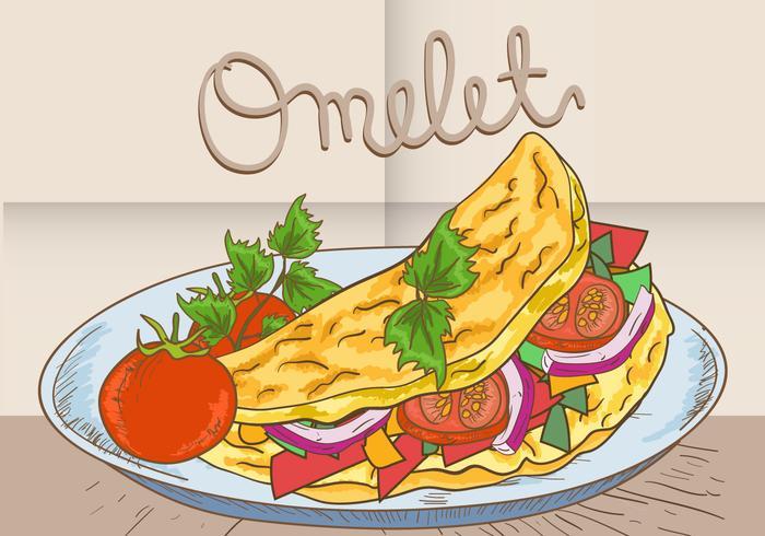Omelett Gemüse auf Teller