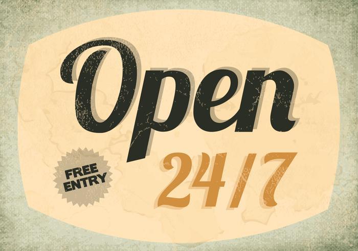 Open 24/7 Restaurant Sign Vector