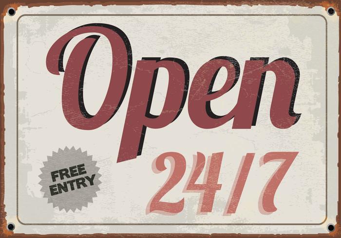 Open 24/7 teken vector