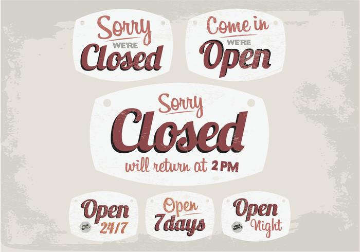 Vintage Closed and Open Signs Vector