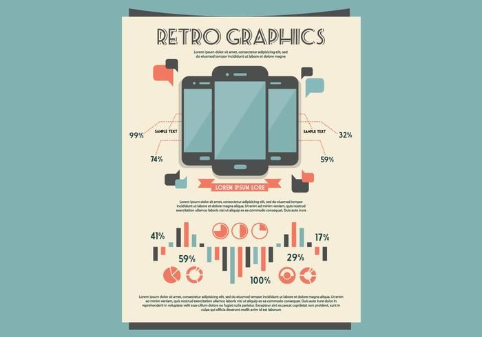 Retro Mobile Graphs und Tische Kit Vektor